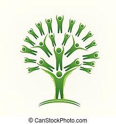 mensen, beeld, boompje, vector, groene, logo, teamwork
