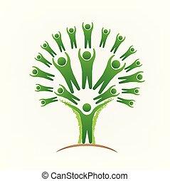 mensen, beeld, boompje, vector, teamwork, logo