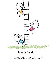 mensen, beklimming, conceptueel, carrière, ladder., zakelijk, collectief, op, illustratie