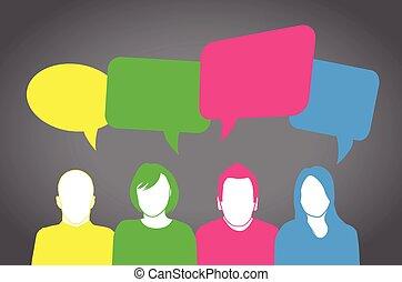 mensen, kleurrijke, het spreken