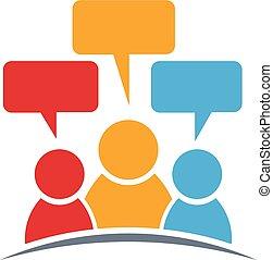 mensen, logo., drie, groep, personen