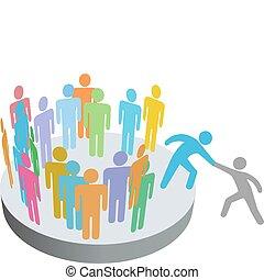 mensen, toevoegen, hulp, persoon, leden, groep, bedrijf, weldoener