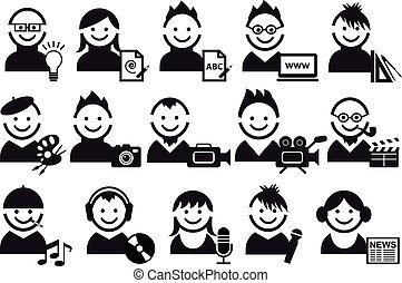 mensen, vector, creatief, iconen