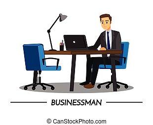 mensen, vector, karakter, spotprent, bureau, handel illustratie