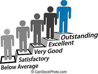 mensen, verbetering, stap, uitstekend, prestatie, omhoog