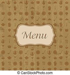 menu, hout, achtergrond