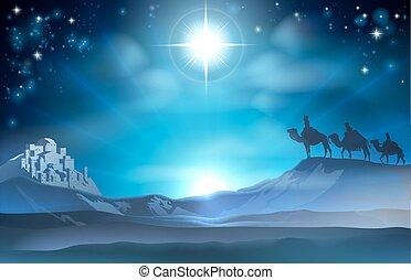 mij, geboorte, ster, wijs, kerstmis