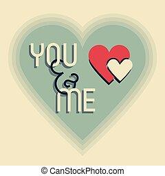 mij, hart, ontwerpen, &, vorm, retro, u