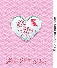 mij, hart, u, achtergrond., metaal, met de hand geschreven, valentine`s, calligraphic, teksten, roze, kaart, vakantie, dag, zilver, vrolijke