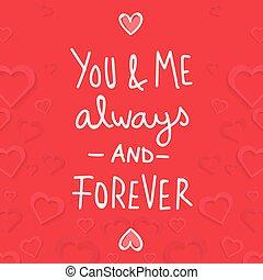 mij, voor altijd, always, beeld, valentijn, vector, u, dag