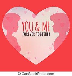 mij, voor altijd, beeld, samen, valentijn, vector, u, dag