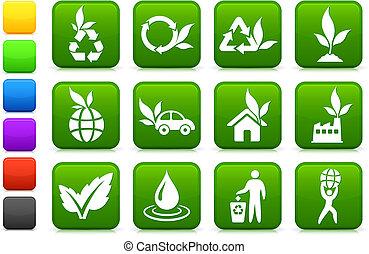 milieu, groener, verzameling, pictogram