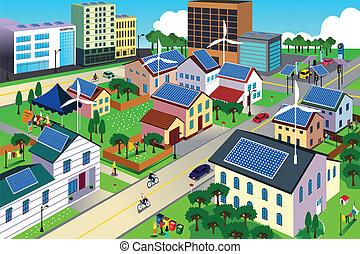 milieu, stad, groene, vriendelijk, scène