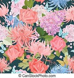 mode, butterflies., seamless, textuur, mooi en gracieus, bloemen, fl