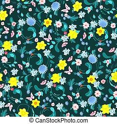 mode, lente, seamless, textuur, ontwerp, bloemen, jouw