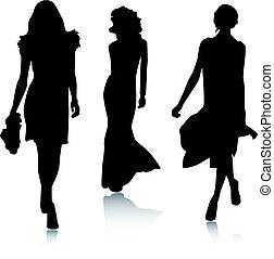 mode, silhouette, vrouwen