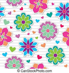 model, bloem, stickers, seamless