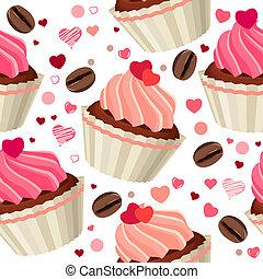 model, chocolade, seamless, rood, hartjes