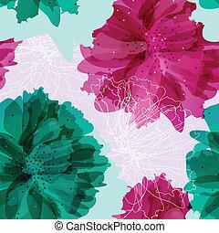 model, kleurrijke bloemen, seamless, ouderwetse