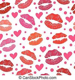 model, kus, seamless, lippenstift, rood