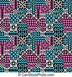 model, pink-blue, lapwerk, geometrisch