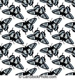 model, seamless, textuur, hand, helder, vector, ontwerp, butterflies., getrokken