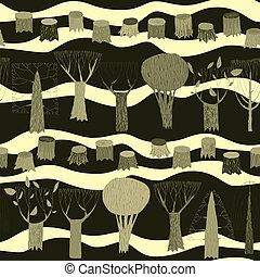 model, tapestry, seamless, bomen, grijze