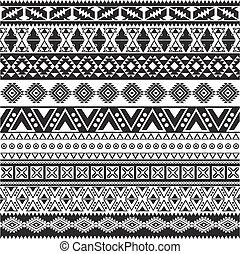 model, van een stam, -, seamless, aztec, zwarte achtergrond, witte