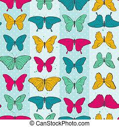 model, vlinder, seamless, kleurrijke
