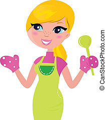 moeder, voedingsmiddelen, vrijstaand, het bereiden, groene, gezonde , het koken, witte