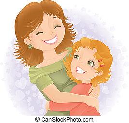 moeders, illustration., groet, dag