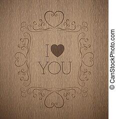 monogram, vector, textuur, plank, hout, valentine's, dag