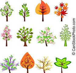 mooi, anders, set, vrijstaand, bomen, witte