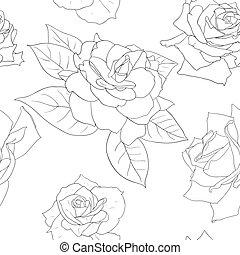 mooi, bloemen, seamless, behang