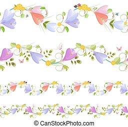 mooi en gracieus, yo, lente, seamless, verzameling, randjes, bloemen