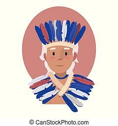 mooi, geklede, nationale, feathers., jonge, indiase hoed