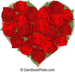 mooi, hart gedaante, rode rozen