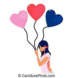 mooi, hartjes, vrouw, ballons