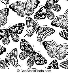 mooi, kleuren, seamless, vlinder, zwarte achtergrond, witte
