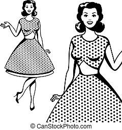 mooi, kunst, knallen, retro, meisje, style.