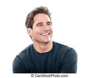 mooi, lachen, man, verticaal, middelbare leeftijd