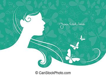 mooi, meisje, silhouette, achtergrond