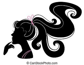 mooi, meisje, silhouette