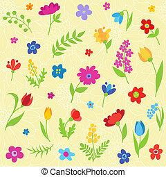 mooi, model, bloemen, seamless, lente