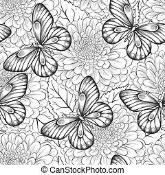 mooi, model, seamless, vlinder, black , witte bloemen