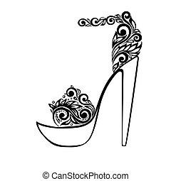 mooi, ornament, sandalen, black , floral, verfraaide, witte