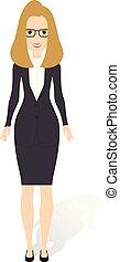 mooi, plat, stijl, vrouw, illustration., zakelijk, geklede, jonge, illustratie, vector, woman., style.