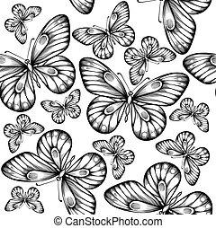 mooi, seamless, vlinder, black , colors., achtergrond, witte