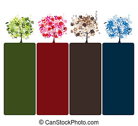 mooi, set, bomen, ontwerp, floral, jouw