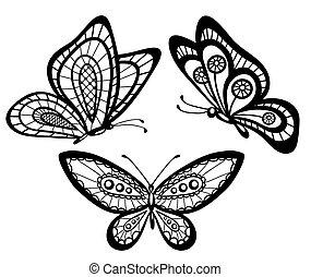 mooi, set, kant, guipure, vlinder, black , witte